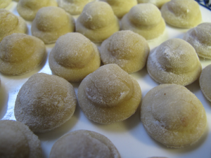 Homemade cappelletti up close
