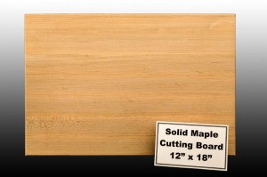 12 by 18 inch Solid Maple Cutting Board
